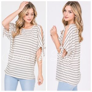 Ivory striped short tie sleeve top